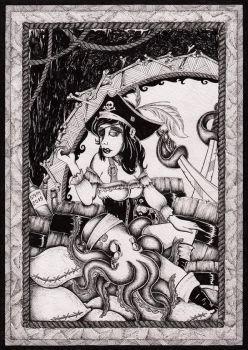 Pirate Woman with an apple by inkarts