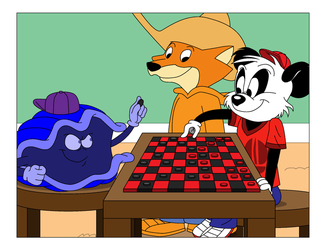 Anthony Panda and Sheldon Clam play chess by Magic-Kristina-KW