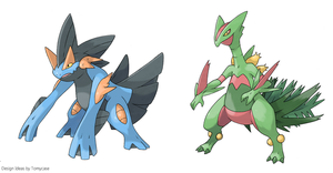 Mega-Swampert and Mega-Sceptile - Early concepts by Tomycase