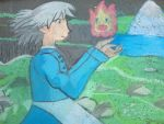 Howl's moving castle chalk drawing  by MagicalGeek826
