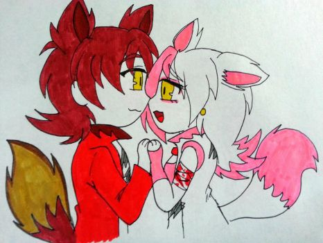 Inktober 19 Foxy x Mangle by Fire-Miracle