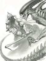 Death-Dealer-VS-Alien by sebastien-grenier
