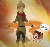 Korra wears Mako's clothes :P by xEpicness