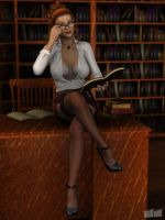 Librarian Pinup by twosheds1