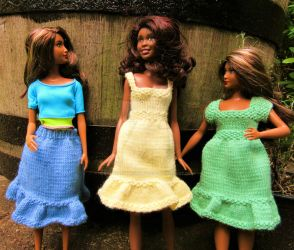 1:6th scale knitted sundresses and skirt by buttercupminiatures