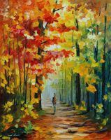 Morning In The Woods by Leonid Afremov by Leonidafremov