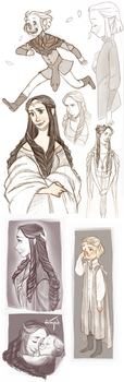 Elves sketches by Inimeitiel-chan