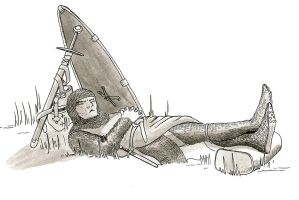 Inktober Day 7 - A Soldier at Rest by warriorneedsfood
