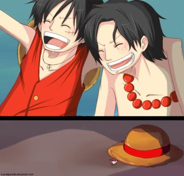 Ace and Luffy - Thank You by KawaiiPandah