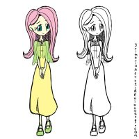 Human Fluttershy by grimarionette