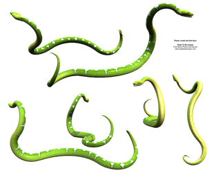 Slithering Green Snake Python by madetobeunique