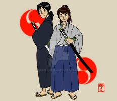 Samurai Ben and Kevin by 4eknight11