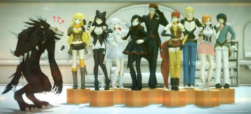 RWBY doing Gee Mannequin by Jakkaeront