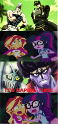Jotaro and Polnareff Meets Sci Twi and Sunset. by brandonale