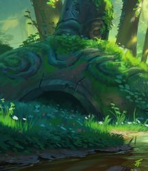 Link and the Forest Temple detail 2 by JeremyFenske
