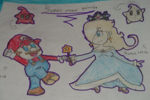 mario and rosalina by NightDrawer1234