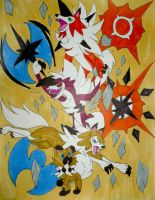 Alola Legendary Evolution of Lycanroc by InkArtWriter