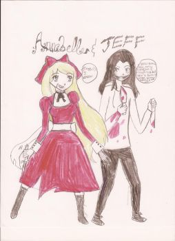 Annabelle and Jeff the Killer by dibskitty