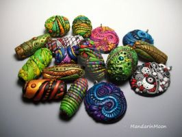Assorted Polymer Clay Beads and Pendants by MandarinMoon