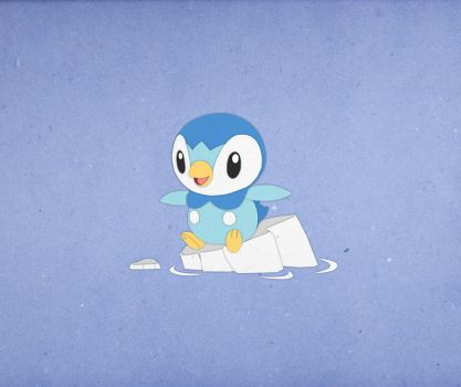 Paper Pokemon Piplup by morganobrienart