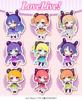 Love Live! ~cyber ver.~ acrylic straps by Ninamo-chan