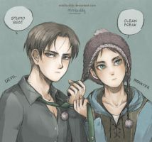 Cool Levi and Cute Eren- Attack on Titan by minibuddy
