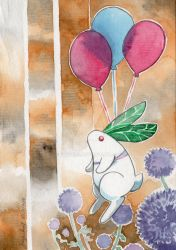 Snow rabbit and thistle by Fuyuko7