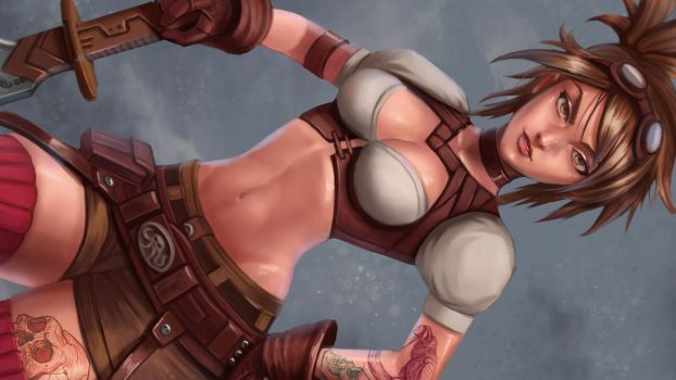 Steam punk warrior girl by victter-le-fou