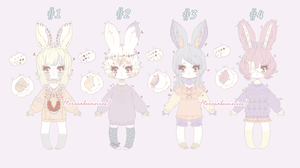 {CLOSED} Pale pixie bunnies by teresabunnies