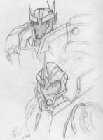 TFP Sketches: Ratchet and Arcee by Trans-Crystal