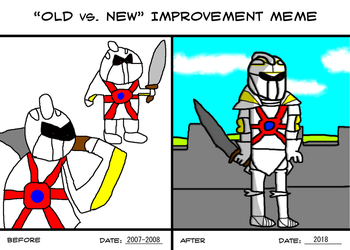 White Armor Man Greham(OC) Old vs New Improvement by SuperSaikai