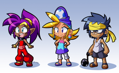 Shantae Sky and Bolo as kids by rongs1234