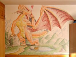 Dragon on the wall by A-Teivos