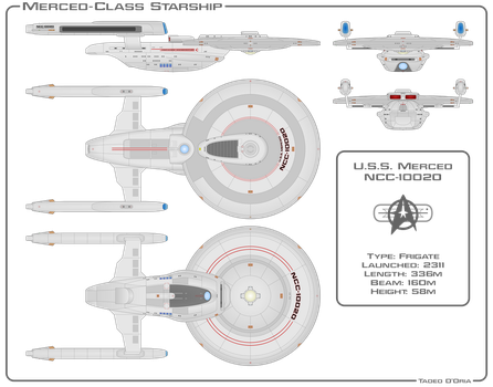Merced-Class Starship Schematic by Rekkert