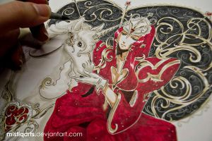 Valentines Copic Red Queen with Unicorn by Mistiqarts