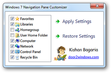 Windows 7 Nav Pane Customizer by Kishan-Bagaria