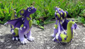 Royal Purple and Wasabi Green Polymer Clay Dragon by MiniMythicalMonsters