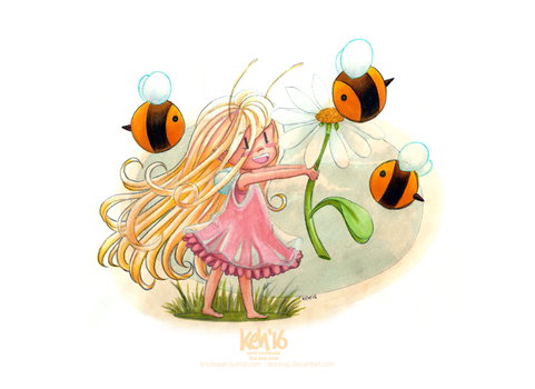 Teasel + Bees by keh-arts