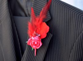 Red rose boutonniere/lapel pin (available) by TheBohoCraftsShoppe