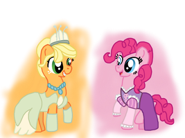 Applejack and Pinkie My Little Disney Princess by Dulcechica19