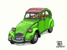Green Citroen 2CV by ChemaIllustration