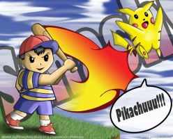 Smash Brothers!!! Ness Vs. Pikachu!! by jimmysworld