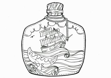 Ship in the bottle BW by kasumi96