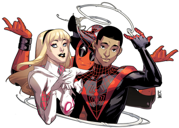 Spiders and Deadpool by kevinTUT