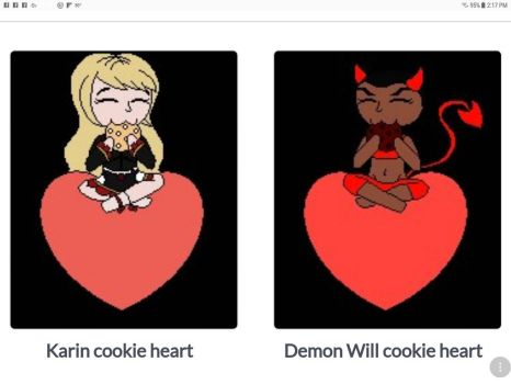 Cookie Hearts: Demon Will and Karin by tallsimeon2003