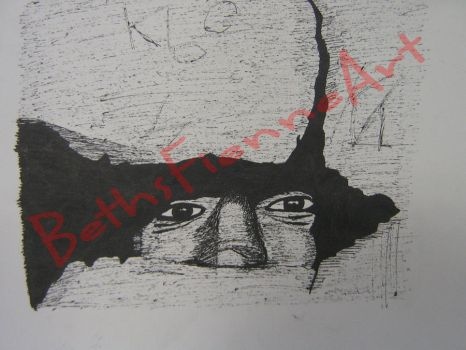 War - Pen Drawing of a Child Hiding by BethsFienneArt