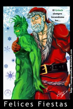 Grinch y PapaNoel by TamagoStudio