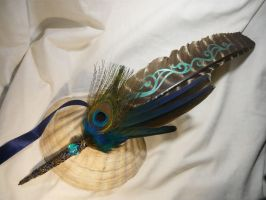 Opalescent Mists - handpainted Featherquill by Ganjamira