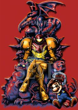 Not Another Mario Game - Samus and Baby Metroid by seviesphere