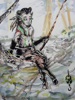 Faun is fishing by LysArgente
